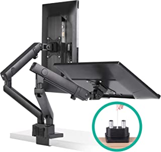 EleTab Dual Monitor Desk Mount Stand - Premium Aluminum Articulating Full Motion Computer VESA Monitor Arm, Heavy Duty Holds 2 Screens 17 to 32 inches, up to 17.6 lbs Each