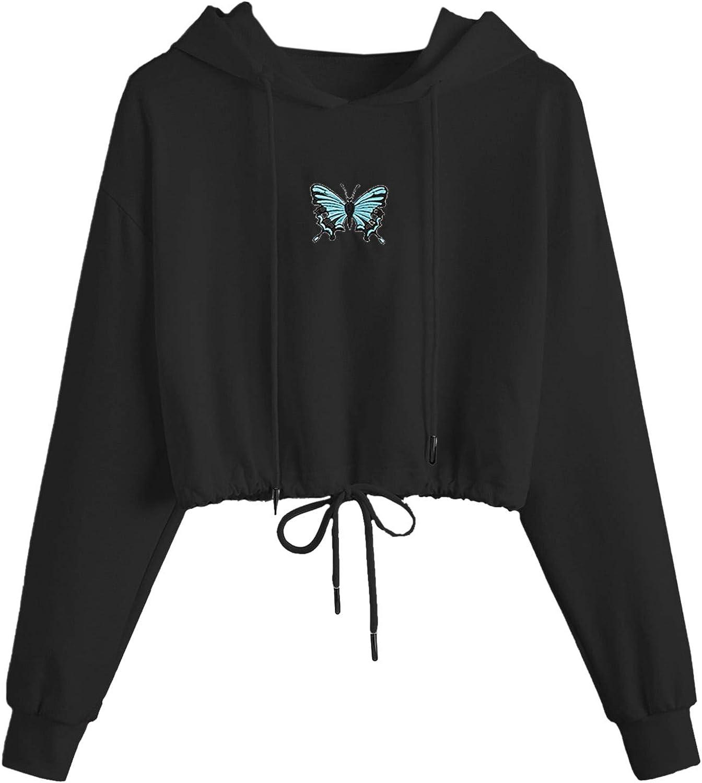 Floerns Women's Casual Long Sleeve Drawstring Hoodie Sweatshirt Pullover Crop Top