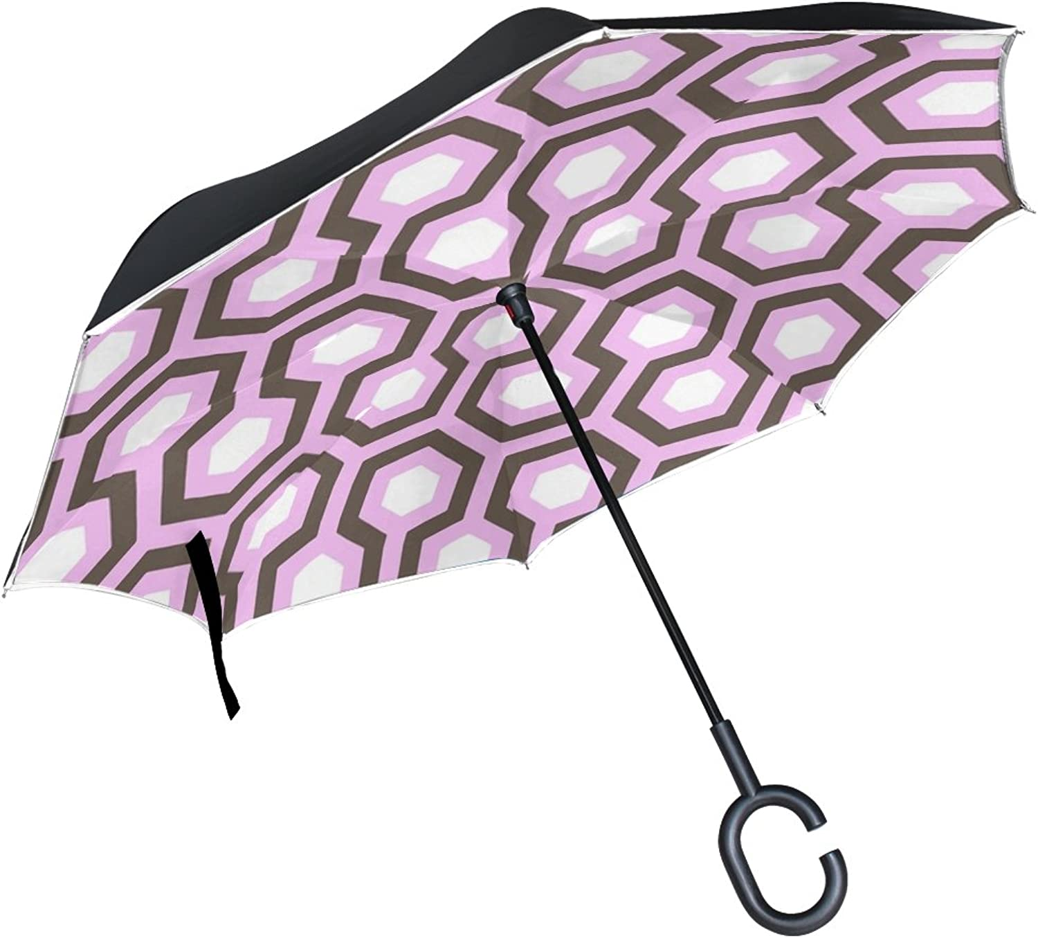 Double Layer Ingreened Funds Texture Pattern Honey Honeycomb Bees Umbrellas Reverse Folding Umbrella Windproof Uv Predection Big Straight Umbrella for Car Rain Outdoor with CShaped Handle