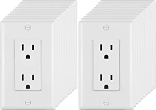 [20 Pack] BESTTEN 15A/125V Decorator Outlets, Electrical Duplex Receptacles, Non-Tamper-Resistant, Decor Wall Plates Included, Residential & Commercial Grade, UL Listed, White
