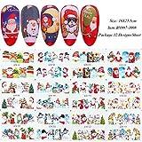 TIANQ 12 unids/set Navidad estilo clavo etiqueta engomada muñeco de nieve envolturas completas de transferencia de agua calcomanías de invierno Nail Art Sliders para manicura Tip Chbn/A-1, Bn997-1008