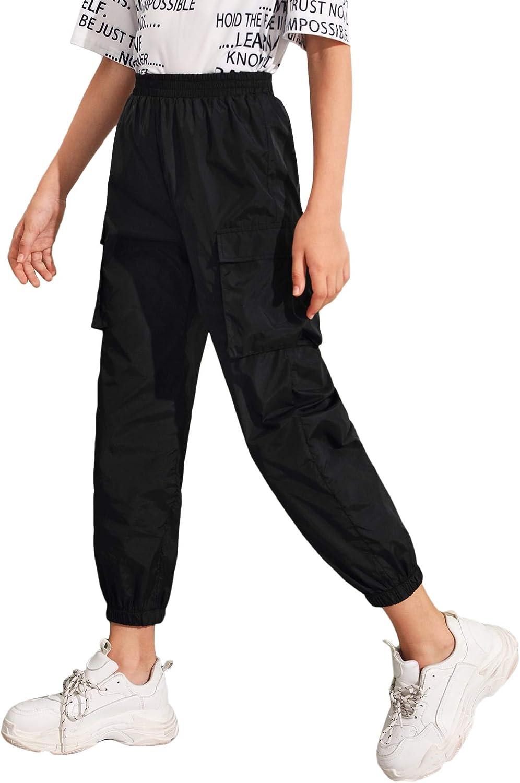 Romwe Girl's Elastic Waist Sweatpants Flap Pocket Workout Jogger Pants