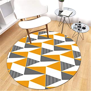 Diameter 31 inch Area Rug Golden Triangle Pattern Rugs Carpets Circular mat for Living Room Hanging Basket Chair