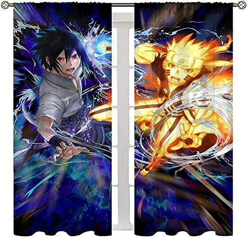 Insulated Blocking Drape for Bedroom and Apartments Anime Naruto Sasuke Uchiha and Naruto Fighting Home Decorations Rod Pocket Curtain W72xL63 Inch