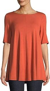 Womens Jewel Neck Elbow Sleeve Tunic Top