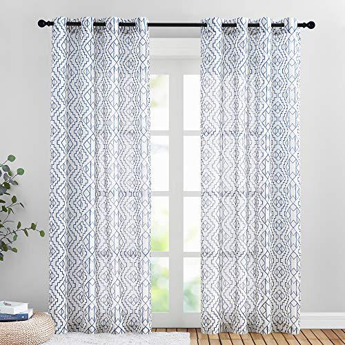"PONY DANCE Printed Sheer Curtains - Natural Linen Semi-Sheer Drapes Home Decor Stylish for Living Room with Geometric Linen Bohemian Pattern, 52"" x 95"" Each Panel, Navy, 2 PCs"