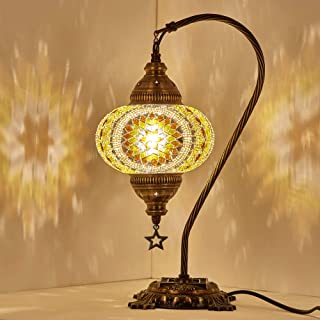 (18 Variations) Newest CopperBull 2018 Turkish Moroccan Tiffany Style Handmade Mosaic Table Desk Bedside Night Swan Neck Lamp Light Lampshade, 42cm (15)
