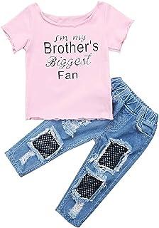 Completino Bimba T-Shirt e Jeans Pantaloni Idea Regalo Leggings Im My Brothers Biggest Fan Completo Colore Rosa Rete Strappati Bambina