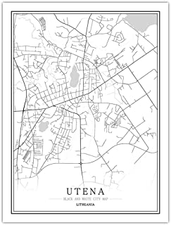 Prints Canvas, Lithuania Utena City Map Black White Simple Minimalist Art Mural Poster Frame less Picture,Modern Vertical ...