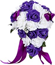 Bodarind Artificial Wedding Bouquet Casading Rose Flowers with Rhinestone for Bride and Bridesmaid,Waterfall Flowers Bunch for Decorations