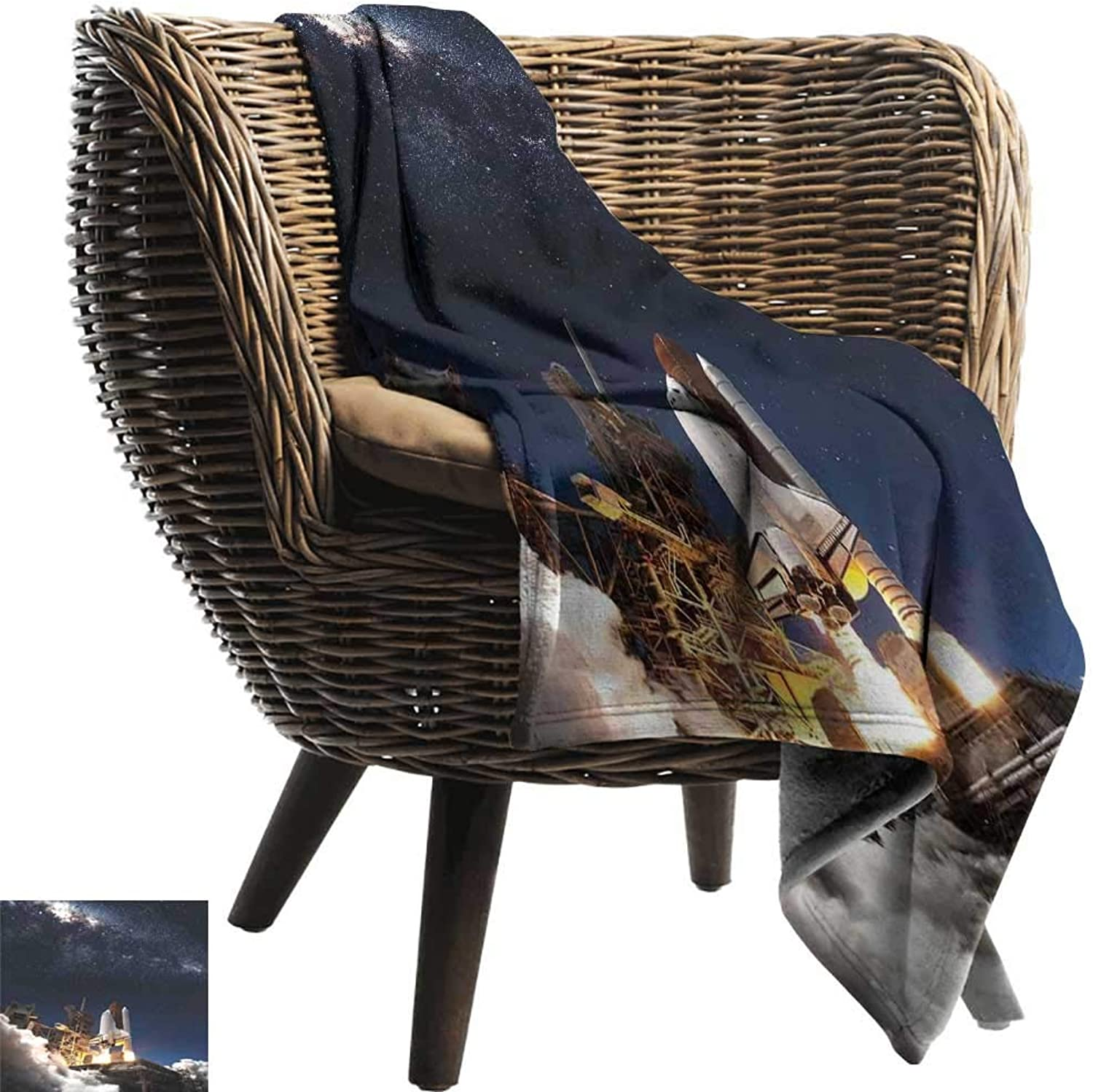 FCTBG Galaxy Anxiety Weighted Blanket for Adults Shuttle on Take Off Discovery Mission to Explore Galaxy Spaceship Solar Adventure