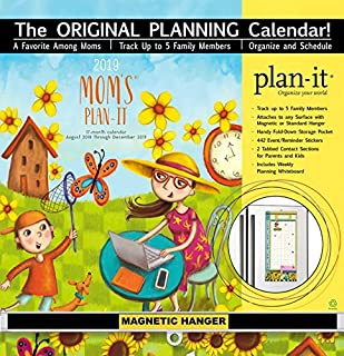 Mom's Plan-It 17 Month 2019 Planning Calendar: Includes Magnetic Hanger
