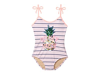 shade critters Flip Sequin One-Piece Pineapple Stripe (Toddler/Little Kids/Big Kids) (Pink) Girl