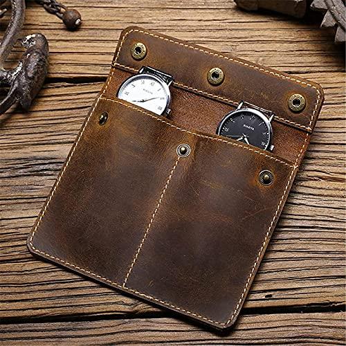 ZLYY Organizador de relojes portátil de piel en color marrón, para 2 relojes, 13 x 0,5 x 10 cm
