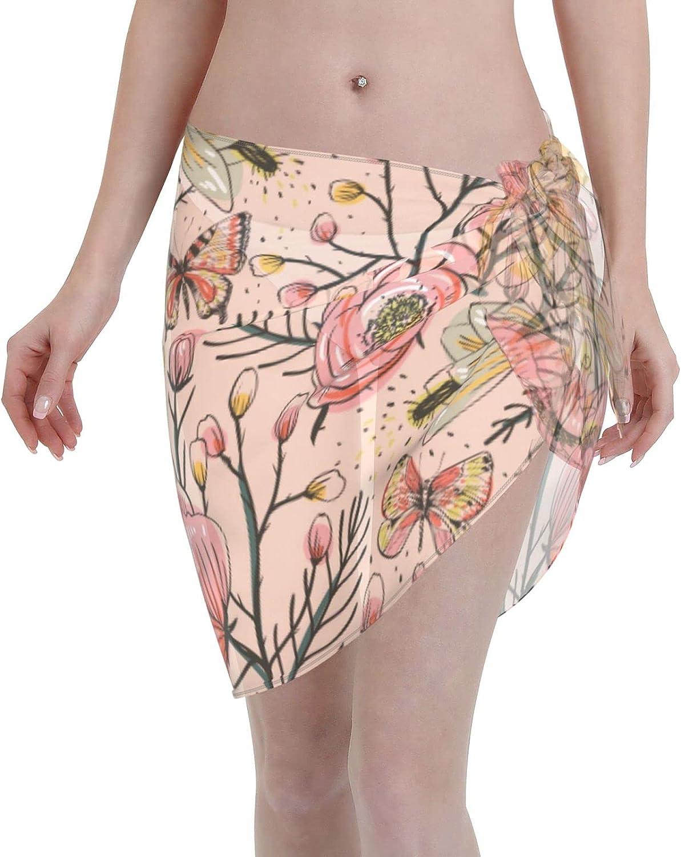 Vintage Flowers and Butterflies Swimsuit Cover Ups for Women Sarong Beach Bikini Wrap Sheer Short Skirt Chiffon Scarf for Swimwear
