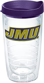Tervis James Madison Dukes Primary Logo Insulated Tumbler with Emblem and Royal Purple Lid, 16oz, Clear