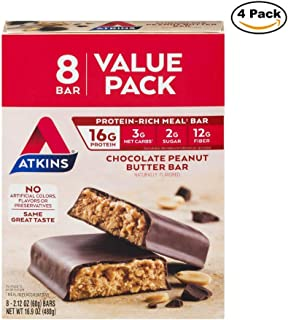 Atkins Protein-Rich Meal Bar, Chocolate Peanut Butter, 2.12 Ounce each bar, 16.9 Ounce (Pack of 4)
