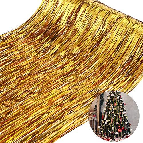 WILLBOND 4000 Strands Christmas Tree Gold Tinsel Icicles Christmas Foil Fringe Strands Foil Fringe Icicle for Christmas Home Decorations Basket Filler Graduation Present Supplies