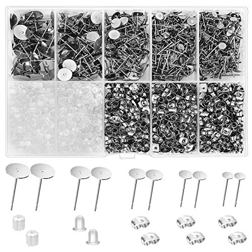 VERACT Earring Posts and Backs, 2000Pcs Hypoallergenic Earring Studs for Jewelry Making Kit and Butterfly Earring Backs and Rubber Earring Backs with Box (4mm, 5mm, 6mm, 8mm, 10mm)