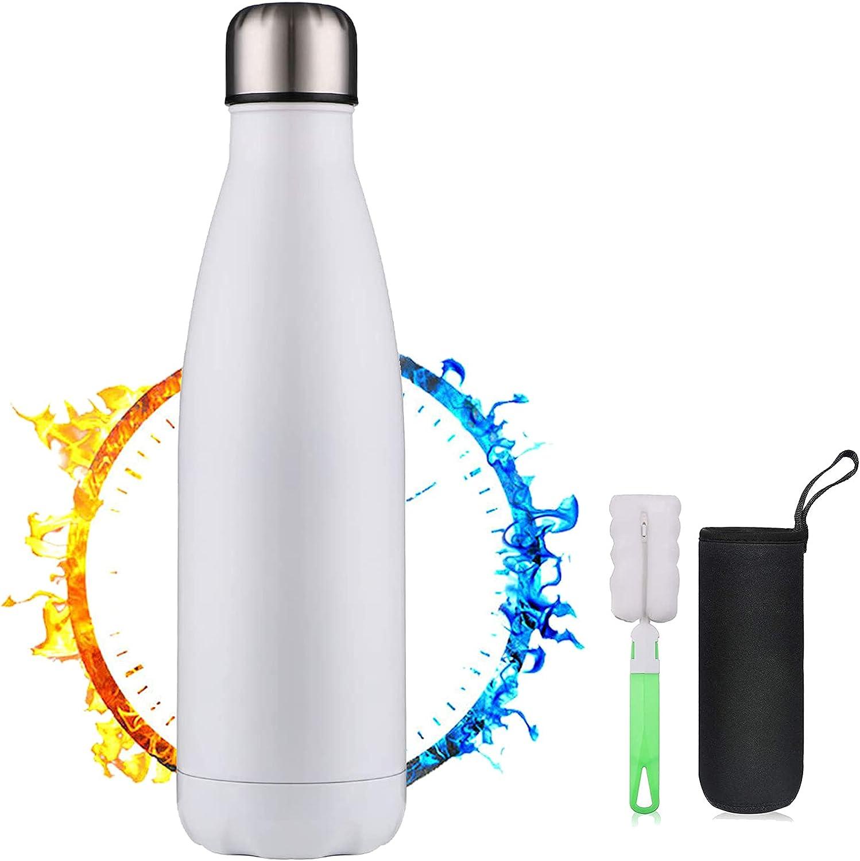 TMG Aislamiento de Vacío de Doble Pared Botella Termica,Botella de Agua Acero Inoxidable 500ml,Botellas de Frío/Caliente,Con 1 cepillo de limpieza y portavasos,para,Niños,Oficina,Gimnasio,Deporte