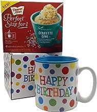 Happy Birthday Mug In Gift Box with 4 Mug Cake Mix Pouches Bundle (Confetti)