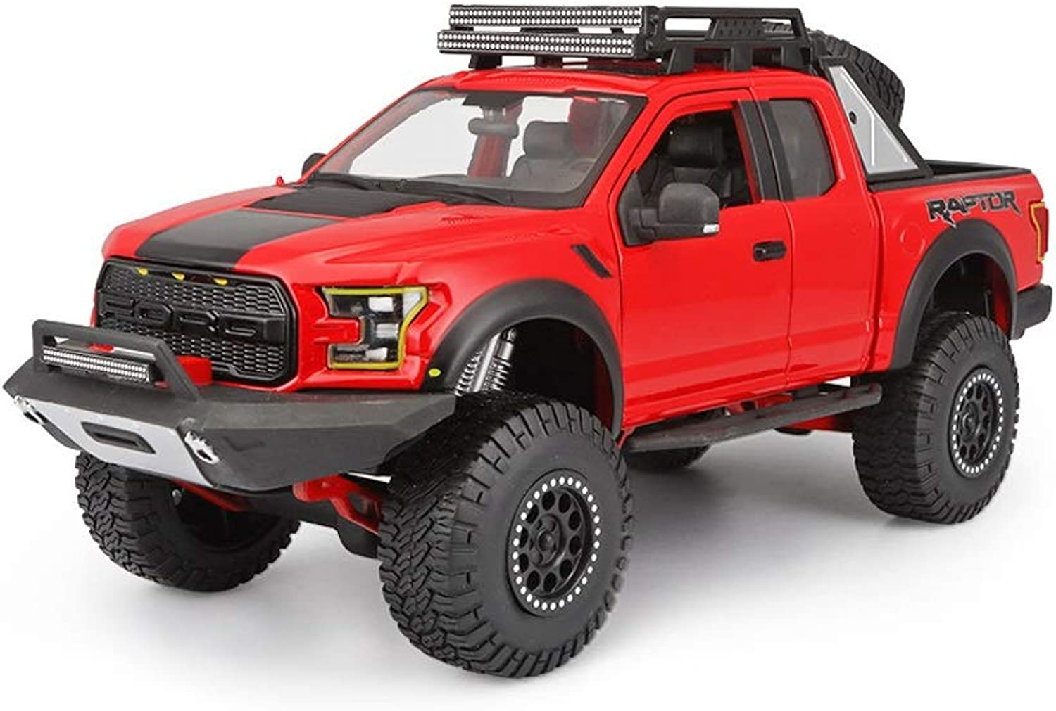 LIUFSAlloy Car Original 1 24 Ford Raptor F150 Pickup Truck Model Simulation Alloy Car Model Metal Car Model ( color   RED )