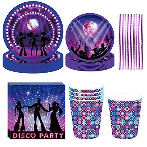 NIOE 93-teiliges Set Partygeschirr Disco-Kugel, Happy Birthday Party Set mit Teller Becher Servietten für 8 Kindergeburtstag Partydekoration