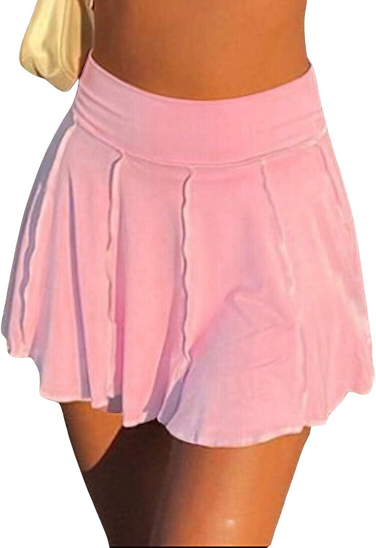 Viloong Women Pleated Mini Skirt Solid High Waist Ruffle Lingerie Skirts Striped Flare Short Skirts