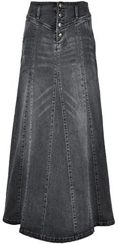 CHARTOU Women's Retro Exposure Button-Fly Packaged Hip A-Line Maxi Long Denim Skirt