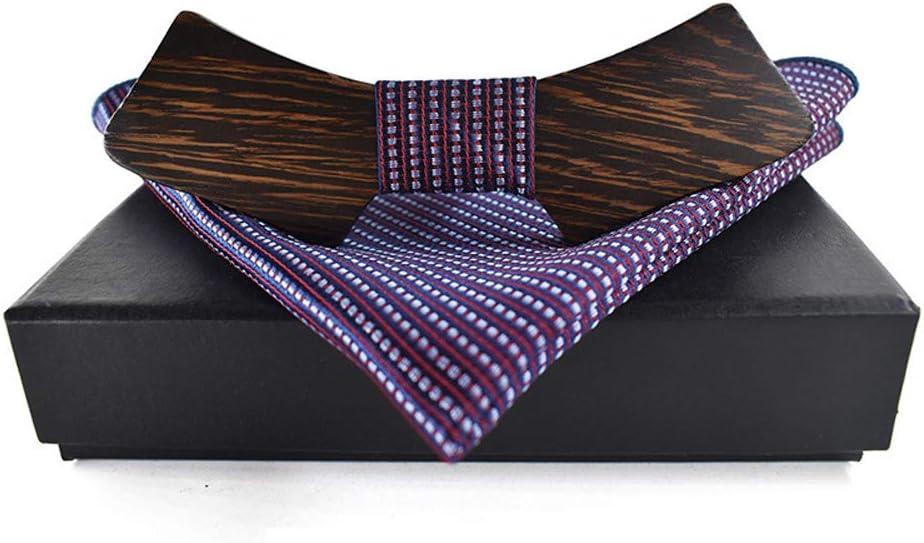 L.W.SUSL Men's Women's Wooden Wooden Bow Tie Orthogonal Wooden Bow Tie Geometrical Tie Shirt Bow Tie Wooden Bow Tie (Color : Purple, Size : 59.5cm)