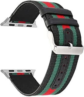 for Apple Watch Band, Woven Nylon Watchband Genuine Leather Sport Strap Replacement Bands for iWatch Series 3 2 1 All Models 38mm/42mm, Army Green