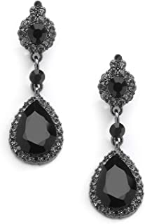 Mariell Jet Black Crystal Clip On with Pave Frames and Teardrop Dangles - for Proms and Wedding Parties