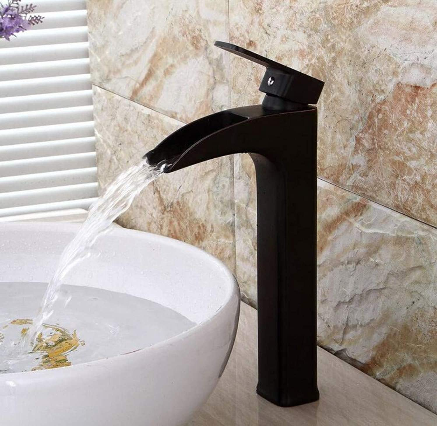 Chrome-Plated Brass Waterfall Faucet Above Counter Basin Hot and Cold Faucet Bathroom Single Washbasin Square Faucet