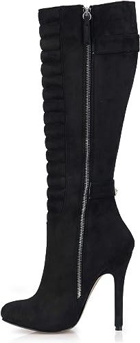 botas de otoño para mujer, 12 cm, tacón Alto, botas de Ante Alto, Puntiagudo, con Cremallera, zapatos con Hebilla, Color rojo Vino