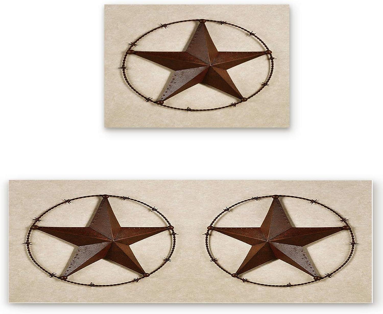 SODIKA Kitchen Rug Set, 2 Pieces Non-Skid Kitchen Mats and Rugs Set Doormat Runner Rug Sets, Western Texas Star 23.6 x35.4 +23.6 x70.9