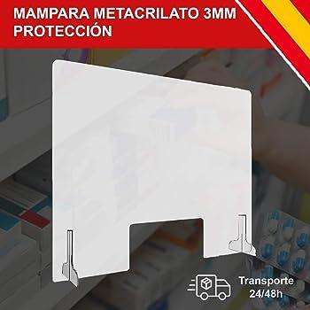 MAMPARA DE PROTECCIÓN METACRILATO TRANSPARENTE 90x60 HORIZONTAL ...