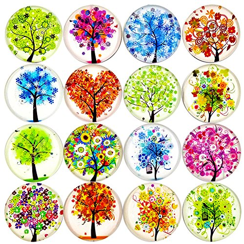 16pcs Beautiful Glass Refrigerator Magnets Fridge Stickers Funny for Office Cabinets Whiteboards Tree of Life Decorative Photo Abstract
