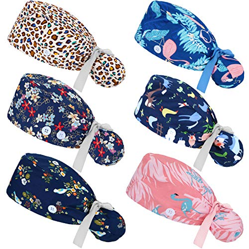 6 Pieces Scrub Caps with Buttons Ponytail Holder and Sweatband Adjustable Ribbon Tie Ponytail Hats Bouffant Turban Hats Colorful Printed Beanie Long Hair Covers for Women