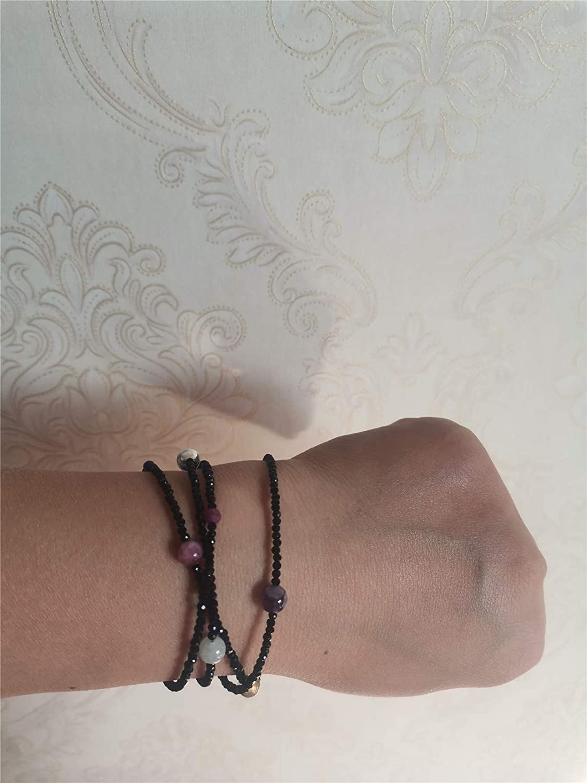 Qordelia Black Spinel with 12 Kinds Natural Gem Colorful Crystal Necklace, Birthstone Jewelry Bracelet Strap Eyeglass Chains