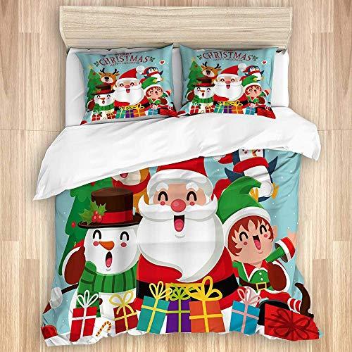 Funda nórdica, Feliz Navidad Papá Noel Ciervo Muñeco de Nieve Pequeño Duende Personaje de Dibujos Animados de Vacaciones Feliz año Nuevo, Juego de Cama de Microfibra de Calidad Diseño mo
