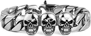 HZMAN Mens Punk Biker Jewelry Large Stainless Steel Curb Chain Bracelet with Pirate Skull(Silver)