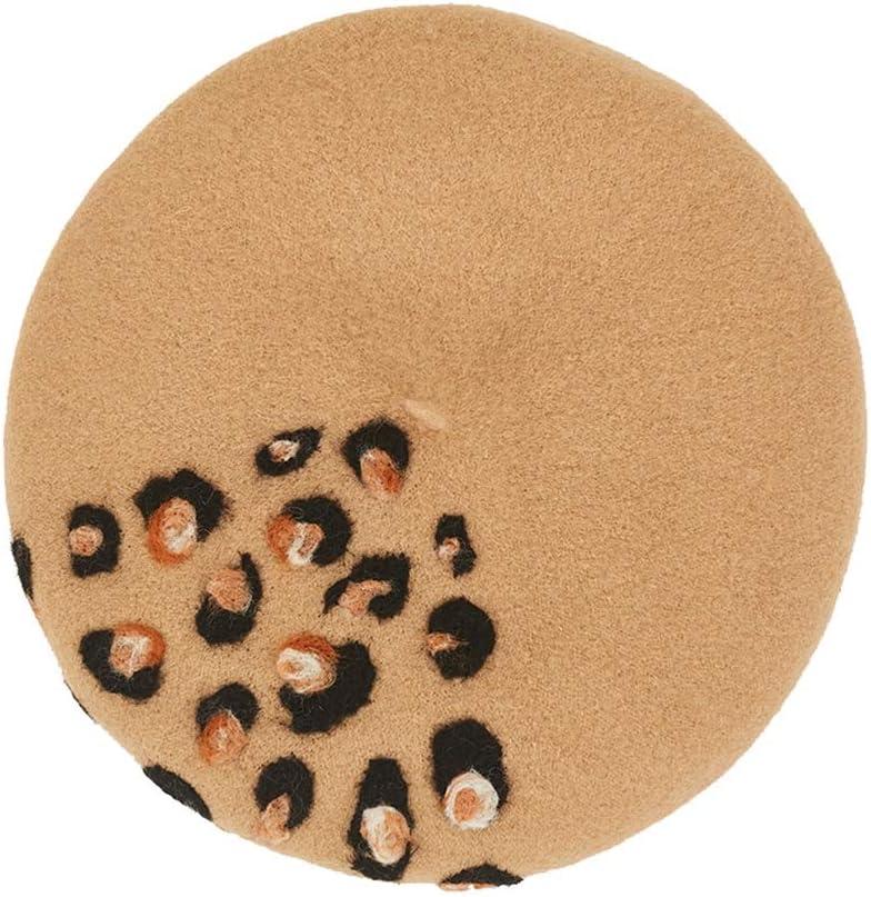 LHZUS Hats Fashion Lovely Hat Handmade Wool Felt Berets Women Leopard Pattern Valentine's Day Retro Cap (Color : 1, Size : 56-58CM)