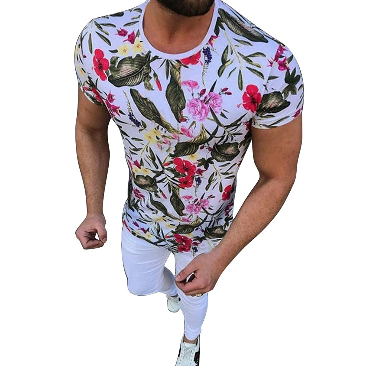 Men's Summer New Printed Short Sleeves Fashionable and Comfortable Blouse Top