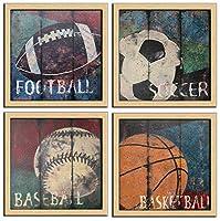【開運絵画】 絵画 運動する サッカー バスケットボール フットボール 野球 フレーム 壁飾り アートパネル個人で、業務用に、ギフトにも!横30cm x 縦30cm x 4枚 | キャンバス上の 画像の印刷、絵画、木製のフレームで仕上げ 装飾 軽くて取り付けやすい | 和風 壁掛け 絵 リビング 玄関 接客室 会議室 事務所絵画 プレゼント店舗ディスプレイ ギフト (13: Sport Ball Wall Art )