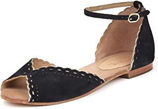 Saint G Womens Black Leather Flats