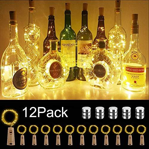 【12 Stück】Flaschenlicht Warmweiß, ORSIFOW 20 LEDs 2M LED korken Lichterkette, Batteriebetriebene Weinflasche Lichter, Lichterkette Flasche für DIY, Weihnachten Deko (Verbesserte Batterie)