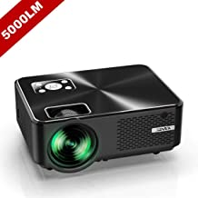 "YABER Portable Projector with 5000 Lumen Upgrade Full HD 1080P 200"" Display Supported, LCD LED Home & Outdoor Projector Compatible with Fire TV Stick, Smartphone, HDMI,VGA,AV and USB"