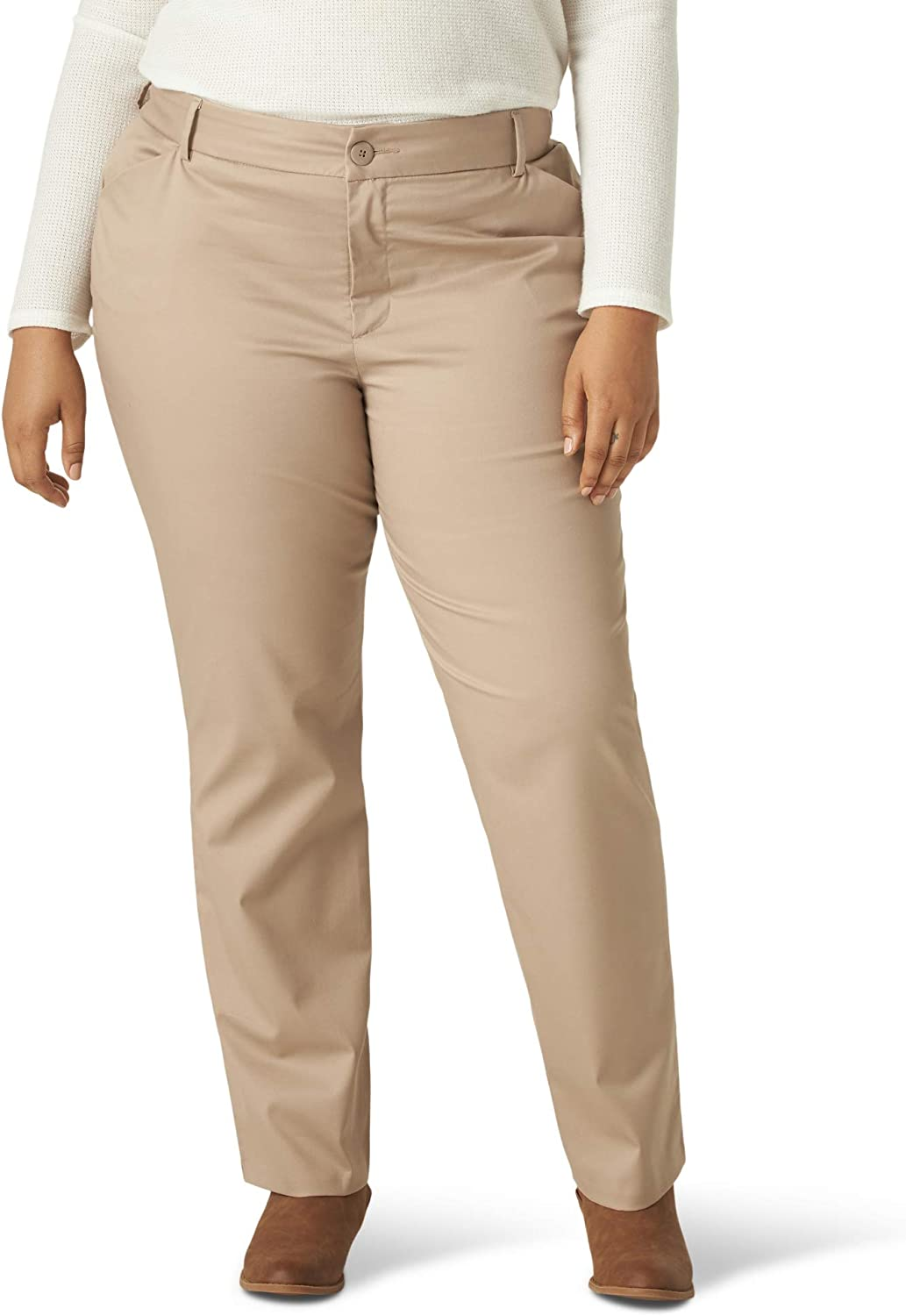 Lee Women's Plus Size Wrinkle Free Relaxed Fit Straight Leg Pant at  Women's Clothing store