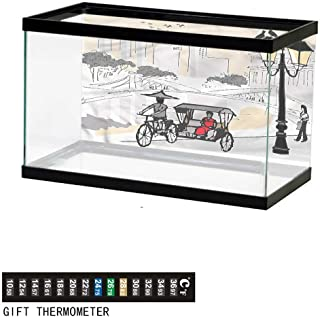 Khaki home Fish Tank Backdrop Modern,Simplistic Circular Wave,Aquarium Background, Thermometer Sticker