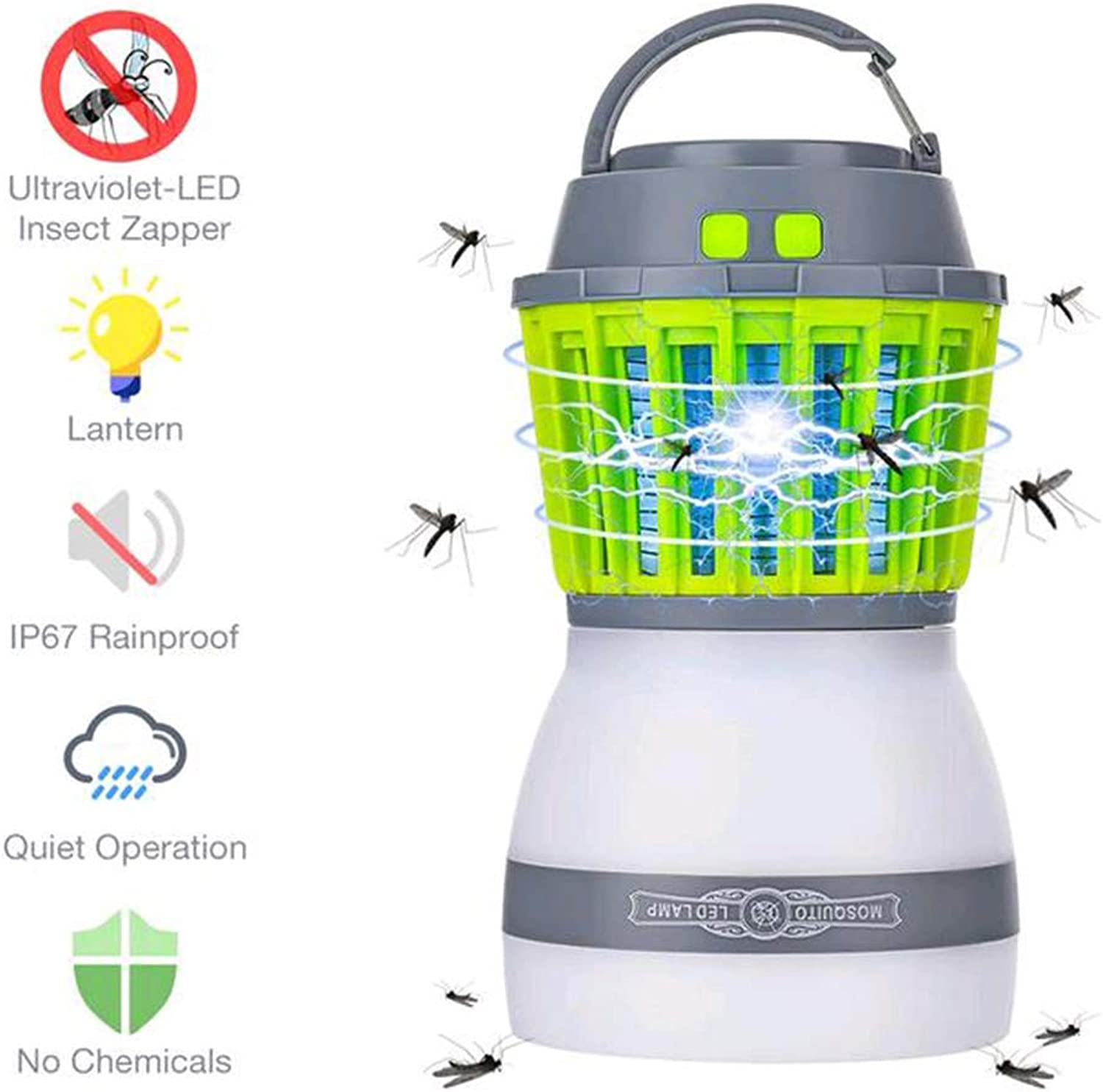 Mosquito Lamp, USB Rechargeable, Inhalation Mosquito Lamp, Household Physical Mosquito Lamp, Tent Mosquito Lamp, Outdoor, Indoor, Can Be Used,Green,9.2  16.5cm